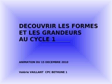 DECOUVRIR LES FORMES ET LES GRANDEURS AU CYCLE 1