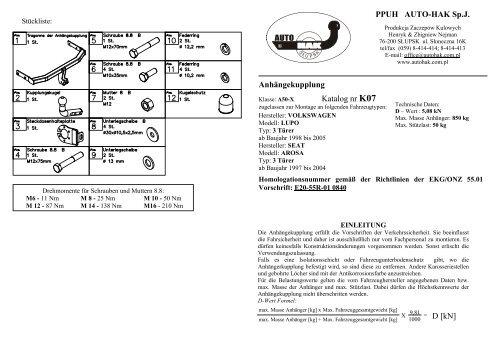 Anhängekupplung Katalog nr K07 = D [kN] PPUH AUTO-HAK Sp.J.