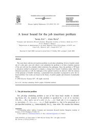 A lower bound for the job insertion problem - gerad