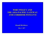 port policy and the asia-pacific gateway and corridor initiatve