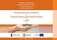 Rozwój obszarów wiejskich a Program Operacyjny Kapitał Ludzki