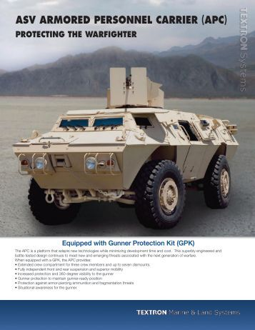 asv armored personnel carrier (apc) - Textron Marine & Land Systems
