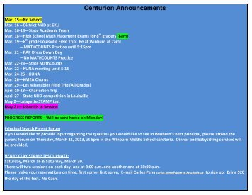 Centurion Announcements - Fayette's iSchool