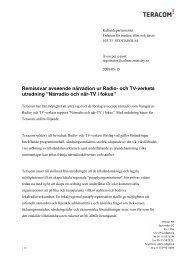 Remissvar avseende närradion ur Radio- och TV-verkets ... - Teracom