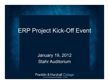 ERP Project Kick-Off Event