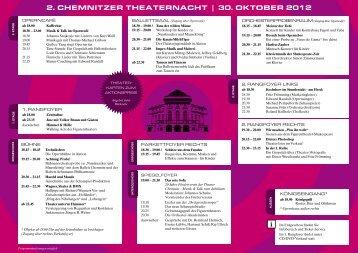 2. Chemnitzer theaternaCht | 30. OKtOBer 2012 - Die Theater ...