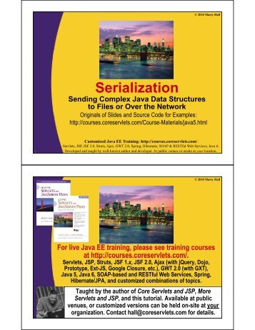 Serialization - Custom Training Courses - Coreservlets.com