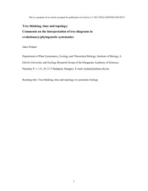 Tree thinking, time and topology: Comments on the interpretation of ...