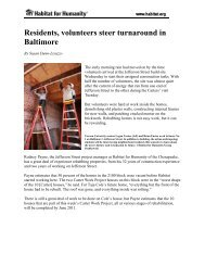 Residents, volunteers steer turnaround in Baltimore - Habitat for ...
