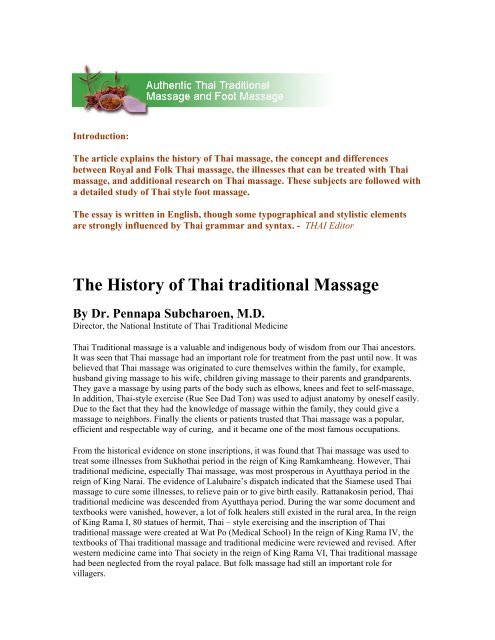 The History of Thai traditional Massage By Dr  Pennapa