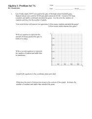 Algebra 1: Problem Set 7A - MathChamber