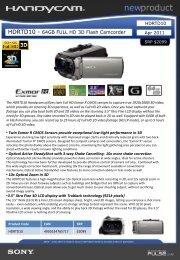HDRTD10 - 64GB FULL HD 3D Flash Camcorder