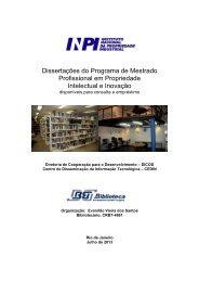 Dissertações do Programa de Mestrado Profissional em ... - Inpi