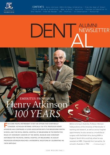 """dent-al"" Issue 1 - 2013 - Melbourne Dental School - University of ..."