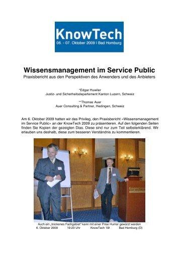 Praxisbericht Wissensmanagement - Auer Consulting & Partner
