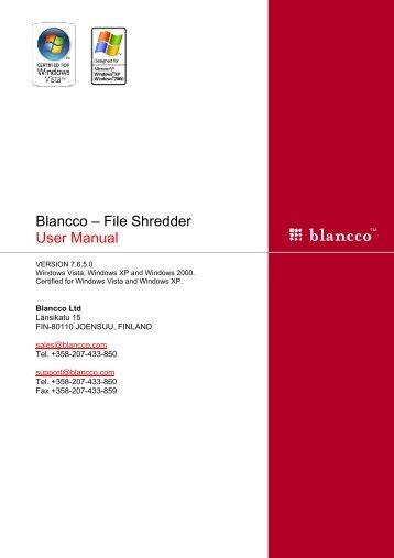 Blancco – File Shredder User Manual
