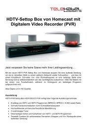 HDTV-Settop Box von Homecast mit Digitalem Video Recorder (PVR)