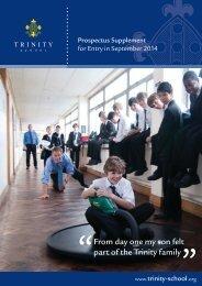 From day one my son felt part of the Trinity family - Trinity School