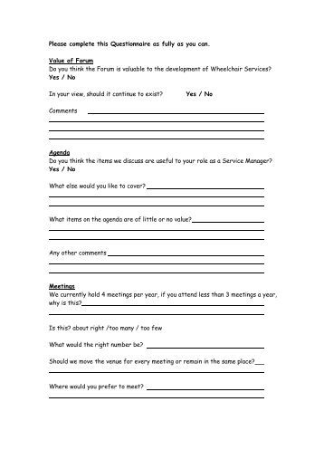 Please complete my questionnaire?