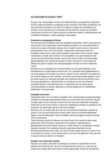6) J. Simons Als een ramp de school treft in Van twaalf tot achttien ...
