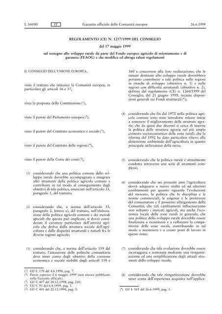 REGOLAMENTO (CE) N. 1257/1999 DEL CONSIGLIO del 17 ... - Inea