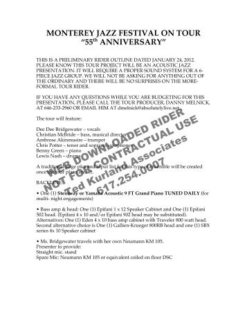 MONTEREY JAZZ FESTIVAL ON TOUR - Ted Kurland Associates