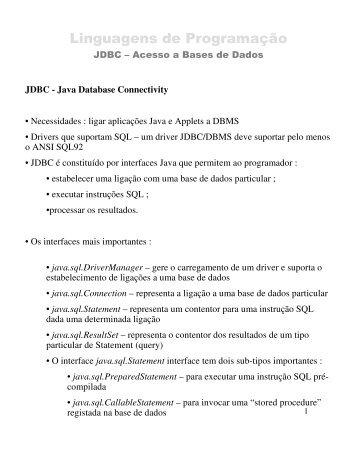 (Microsoft PowerPoint - LP Te\363ricas 04-05 JDBC)