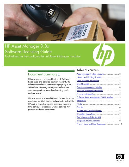 HP Software Asset Manager Licensing Guide