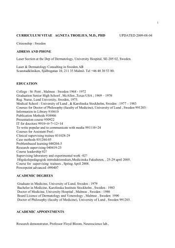 curriculum vitae agneta troilius, m.d., phd - Laser Dermatology