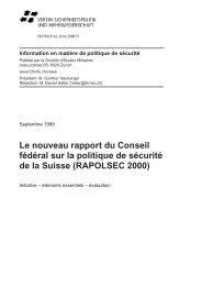 Le nouveau rapport du Conseil fédéral sur la politique de ... - VSWW
