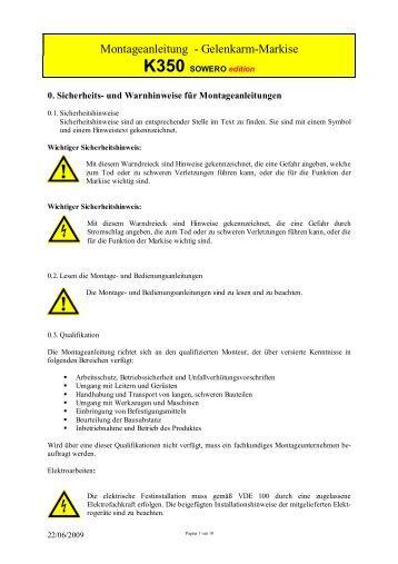 Montageanleitung Vollkassetten- Markise