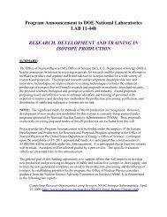 Program Announcement to DOE National Laboratories