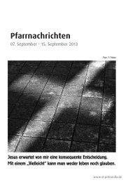 Pfarrnachrichten vom 7. - 15. September 2013 - St. Petronilla