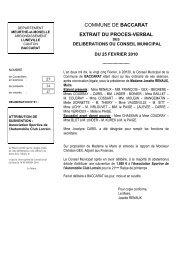 COMMUNE DE BACCARAT EXTRAIT DU PROCES-VERBAL