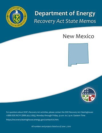 New Mexico Recovery Act State Memo - U.S. Department of Energy