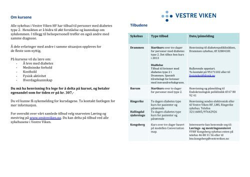 Diabetes type 2 - Vestre Viken HF