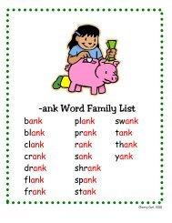 -ank Word Family List