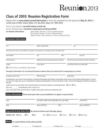 Class of 1953: Reunion Registration Form - Alumni