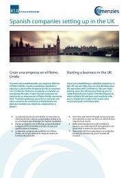 Spanish companies setting up in the UK - Spanish ... - Menzies