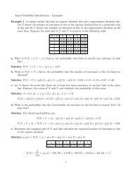 Joint Probability Distributions – Examples Example 1 A certain ...