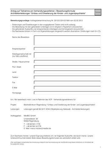 Antrag auf Teilnahme am Verhandlungsverfahren ...