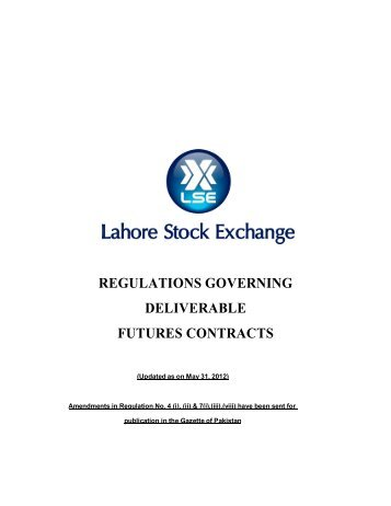 regulations governing deliverable futures contracts - Lahore Stock ...