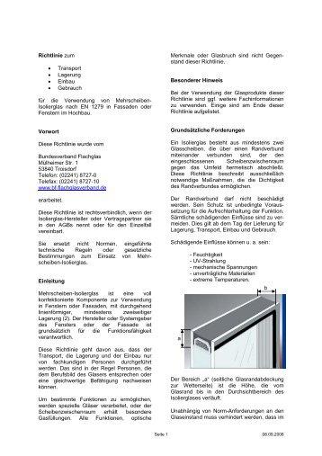 Richtlinie zur Verglasung von Mehrscheiben-Isolierglas (PDF 42 KB)