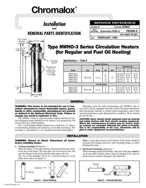 nwho-3 series circulation heaters installation manual - chromalox ...  yumpu