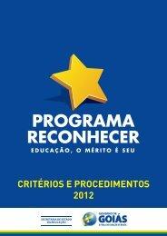 CRITÉRIOS E PROCEDIMENTOS 2012 - Secretaria da Educação