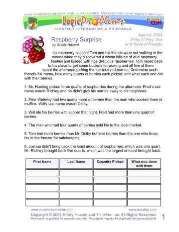 Raspberry Surprise - Puzzlers Paradise