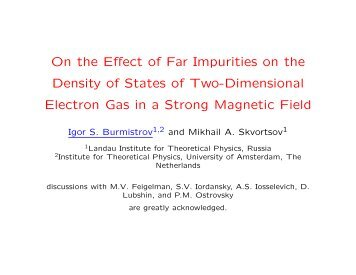 On the Effect of Far Impurities on the Density of States of Two ...