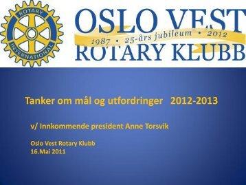 Oslo Vest Rotary Klubbs Mål og Planer for Rotaryåret 2012-13