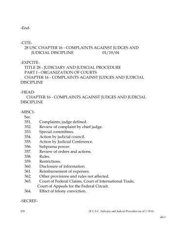 28 USC CHAPTER 16 - COMPLAINTS AGAINST JUDGES AND ...