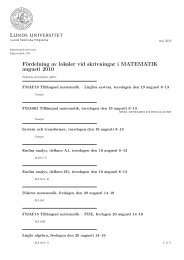 Fördelning av lokaler vid skrivningar i MATEMATIK ... - Student LTH
